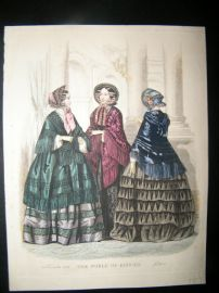 World of Fashion 1852 Hand Col Fashion Print 19